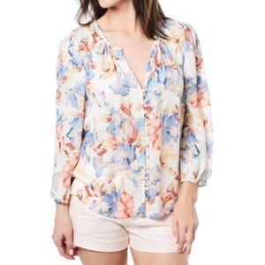 Joie Lennix Silk Blouse Floral Long Sleeve Small